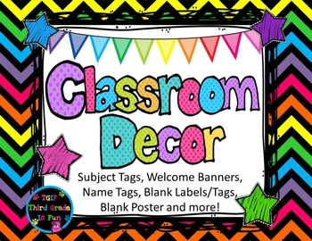 Back to School K- 8 Bright Chevron Welcome Banners, Name & Subject Tags &more