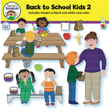 Back to School Kids 2 Clip Art