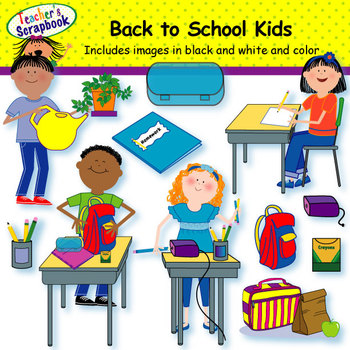 Back to School Kids Clip Art by TeachersScrapbook | TpT