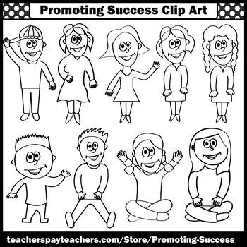 Back to School Kids Clip Art, Children Clipart, Commercial Use SPS