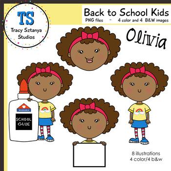 Back to School Kids Clipart Set—Girl5 Olivia {Tracy Sztanya Studios}
