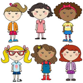 Back to School Kids Clipart Set—Girls {Tracy Sztanya Studios}