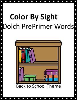 Back to School Kids Dolch PrePrimer Color By Sight SAMPLER