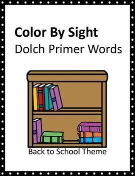 Back to School Kids Dolch Primer Color By Sight SAMPLER