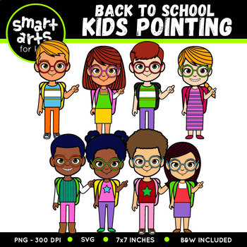 Back to School Kids Pointing Clip Art