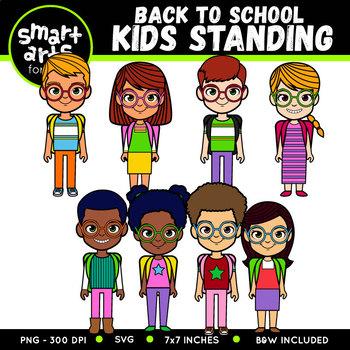 Back to School Kids Standing Clip Art
