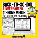 Back to School Kindergarten At-Home Learning Menus for Dis