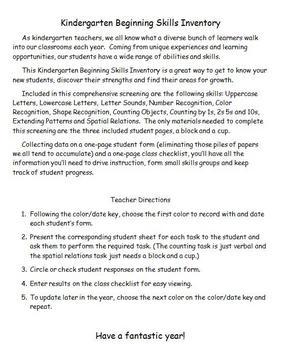 Back to School - Kindergarten Basic Skills Inventory