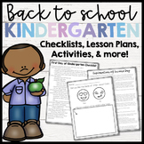Back to School Kindergarten- Checklists, Lesson Plans and