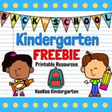 Back to School Kindergarten FREEBIE
