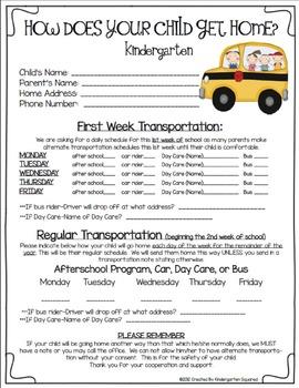 Back to School Forms - Cruisin' Into Kindergarten