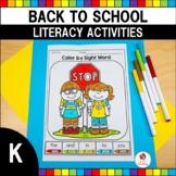 Back to School Literacy Worksheets (Kindergarten)