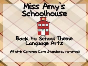 Back to School Kindergarten Language Arts