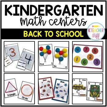 Back to School Kindergarten Math Centers