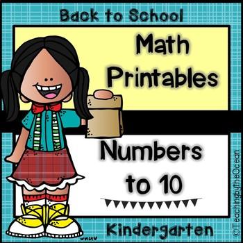Kindergarten Math Printables - Numbers to Ten