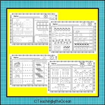 Kindergarten Math Printables Numbers to Ten - FREEBIE