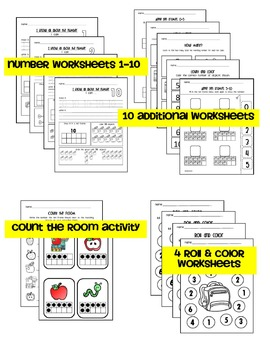 Back to School: Kindergarten Math Numbers 1-10 (Counting and Cardinality)