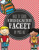 Back to School Kindergarten Mini Packet, First Day of School Kindergarten Packet