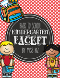 Back to School Kindergarten Mini Packet, First Day of Scho