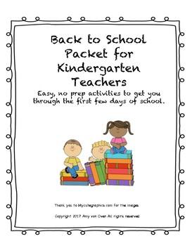 Back to School Kindergarten Pack