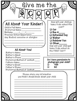 Back to School Kindergarten Student Information Sheet Black and White and Color