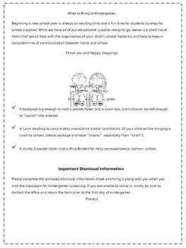 Back to School: Kindergarten Welcome Packet {Editable}