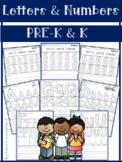 Beginning of Kindergarten Worksheets: Letters and Numbers