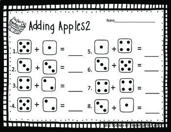 Back to School Kindergergarten Fall Math Centers Common Core Aligned