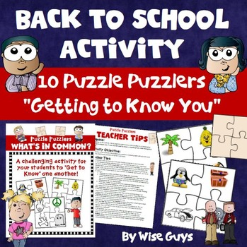 Back to School Kinesthetic Puzzle Activity