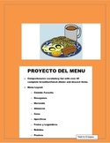 Back to School -La Comida Proyecto - Spanish Foods Menu Pr