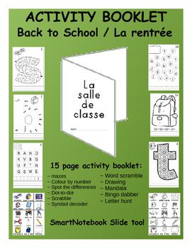 Back to School / La rentrée - FRENCH Activity Booklet & SmartNotebook slides