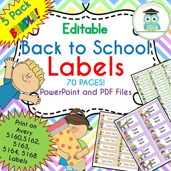 BUNDLE Back to School Labels Classroom Notebook Folder Name Tags (Editable)