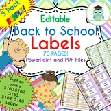 Back to School Labels Bundle (Editable 5160, 5162, 5163, 5