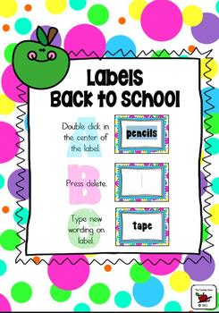Back to School Labels - Customizable