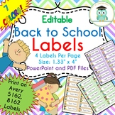 Back to School Labels Editable Classroom Notebook Folder Name Tags (Avery 5162)