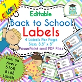 Back to School Labels Editable Folder (Avery 5168)