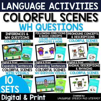 No Print 10 Fun Language Activities for iPad Tablet Computer Teletherapy Bundle
