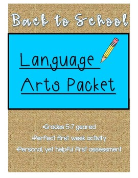 Back to School Language Arts packet