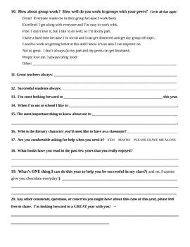 Back to School Language Arts Survey