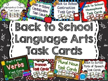 Back to School Language Arts Task Card Bundle