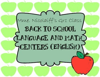 Back to School Language and Math Centers