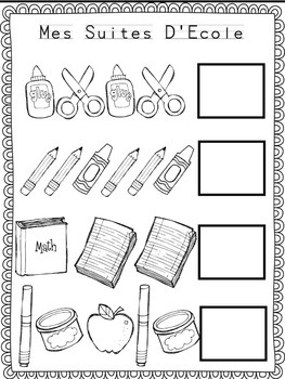 Back to School Language and Math Centers FRENCH