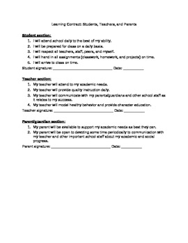 Back to School - Learning Contract for Students/Parents/Teachers