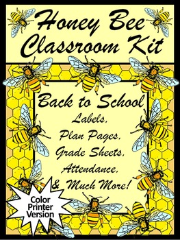 Honey Bee Teacher Binder, Lesson Planner, & Classroom Kit