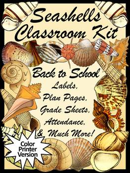 Seashells Teacher Binder, Lesson Planner, & Classroom Kit: Beach Theme