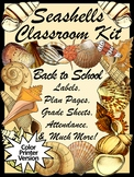 Beach Theme Classroom Kit with Seashells Lesson Planner & Grade Book  - Color