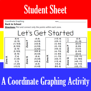Back to School - Let's Get Started - A Coordinate Graphing Activity