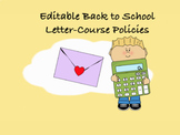 Editable Back to School Letter-Course Policies