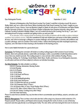 Back to School Letter Editable - Kindergarten header
