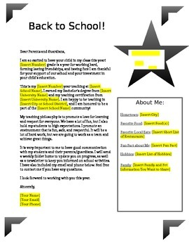 Back to School Letter / Meet the Teacher *Editable*